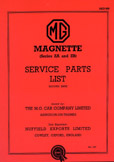 Cover image for MG Magnette ZA-ZB Parts Manual